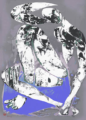 Saxophone Mixed Media - Nude Pop Art Poster by Kim Wang
