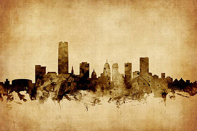 Oklahoma City Skyline Art Print by Michael Tompsett