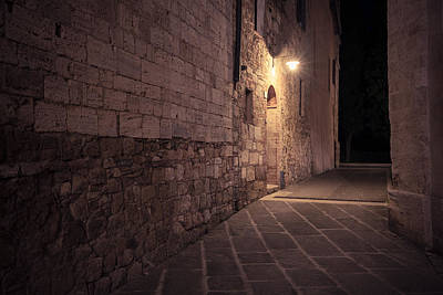 Photograph - Old European Street After Dark by Nickolay Khoroshkov