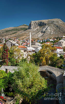 Photograph - Old Town Houses And Mosque View In Mostar Bosnia by Jacek Malipan