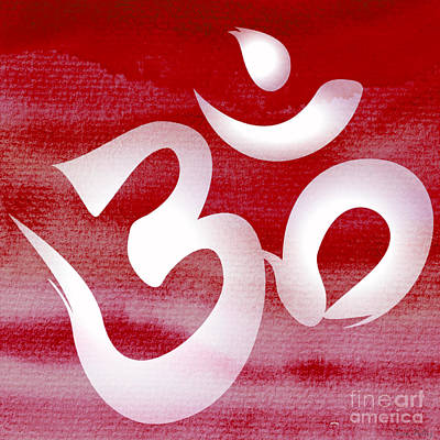 Om Symbol. Red And White Art Print