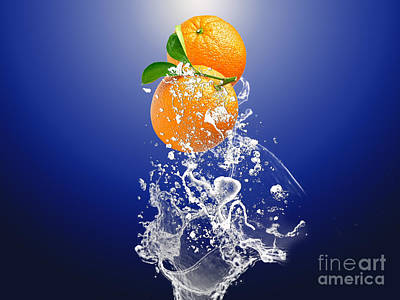 Fruits Mixed Media - Orange Splash by Marvin Blaine