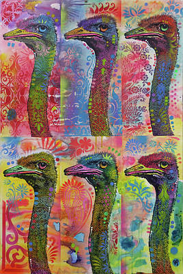 Ostrich Wall Art - Painting - 6 Ostriches by Dean Russo Art