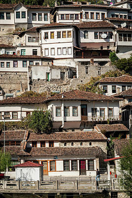 Polaroid Camera - Ottoman Architecture View In Historic Berat Old Town Albania by JM Travel Photography