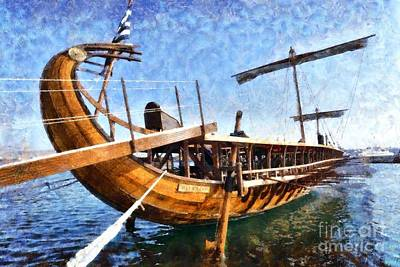 Vessel Painting - Painting Of An Ancient Trireme by George Atsametakis