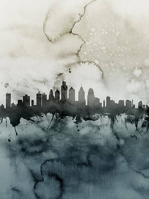 Philadelphia Skyline Digital Art - Philadelphia Pennsylvania Skyline by Michael Tompsett