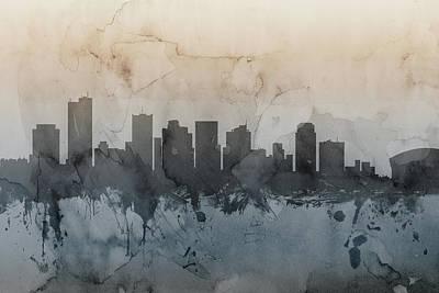 Phoenix Digital Art - Phoenix Arizona Skyline by Michael Tompsett