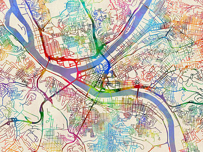 Pittsburgh Pennsylvania Street Map Art Print