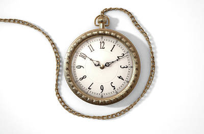 Macro Digital Art - Pocket Watch On Chain by Allan Swart