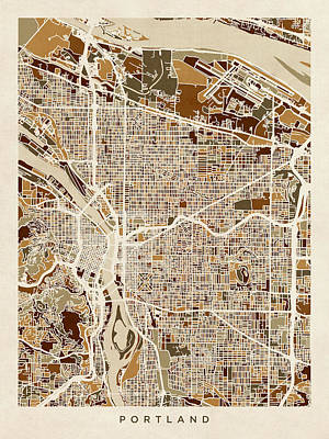 Oregon Digital Art - Portland Oregon City Map by Michael Tompsett