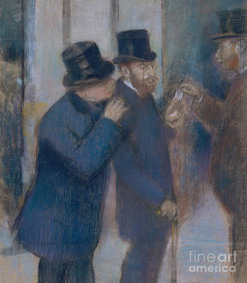 Pastel - Portraits At The Stock Exchange by Edgar Degas