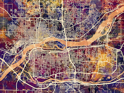 Quad Cities Street Map Art Print