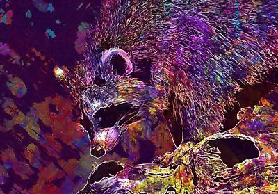 Digital Art - Raccoon Wild Animal Furry Mammal  by PixBreak Art