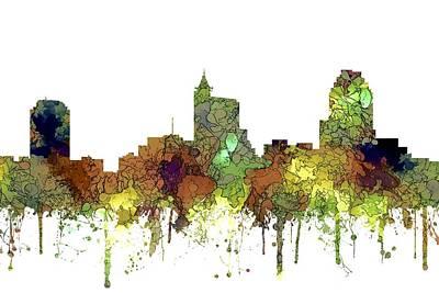 Digital Art - Raleigh North Carolina Skyline by Marlene Watson