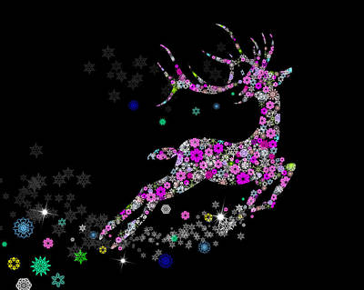 Old Digital Art - Reindeer Design By Snowflakes by Setsiri Silapasuwanchai