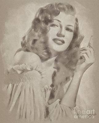 Musicians Drawings Rights Managed Images - Rita Hayworth Vintage Hollywood Actress Royalty-Free Image by Esoterica Art Agency