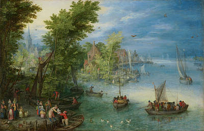 Painting - River Landscape by Jan Brueghel the Elder