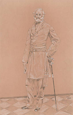 The General Lee Drawing - Robert E. Lee by Dennis Larson