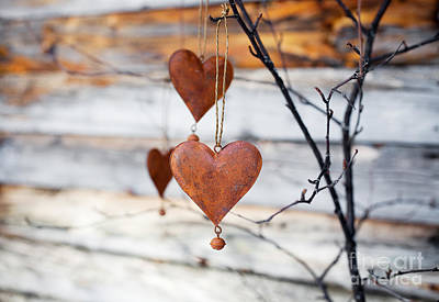 Photograph - Rustic Hearts by Kati Finell