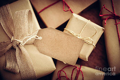 Wrap Photograph - Rustic Retro Gift, Present Boxes With Tag. Christmas Time, Eco Paper Wrap. by Michal Bednarek