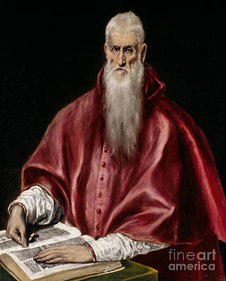 Jerome Painting - Saint Jerome As Scholar by El Greco
