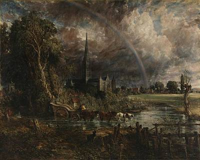 Tree Painting - Salisbury Cathedral From The Meadows by John Constable