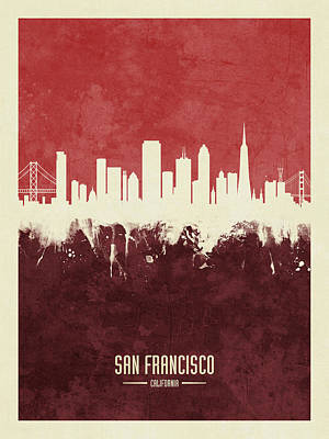 Digital Art - San Francisco California Skyline by Michael Tompsett