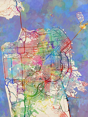 State Of California Digital Art - San Francisco City Street Map by Michael Tompsett
