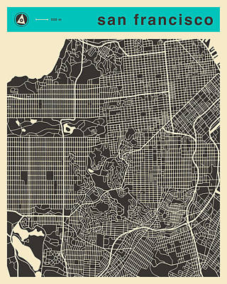 San Francisco Map Art Print by Jazzberry Blue