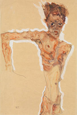 Drawing - Self-portrait by Egon Schiele