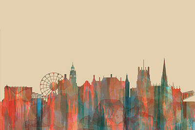 Digital Art - Sheffield England Skyline by Marlene Watson
