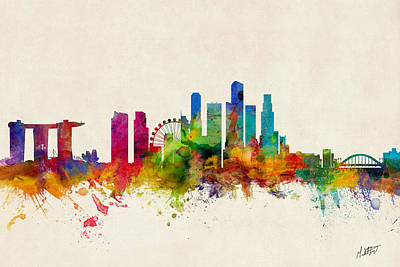 Singapore Digital Art - Singapore Skyline by Michael Tompsett