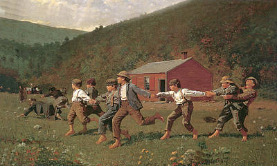 Old Barn Painting - Snap The Whip by Winslow Homer