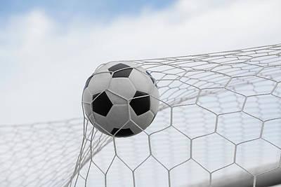 Soccer Ball In Goal  Art Print
