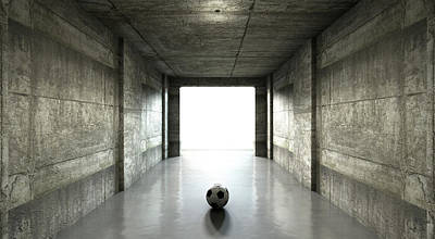 Stadium Digital Art - Soccer Ball Sports Stadium Tunnel by Allan Swart