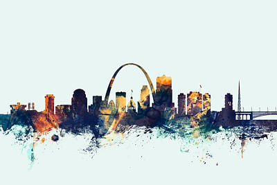 Michael Digital Art - St Louis Missouri Skyline by Michael Tompsett