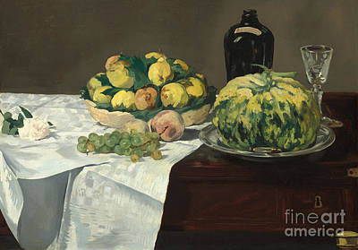 Table Cloth Painting - Still Life With Melon And Peaches by Edouard Manet