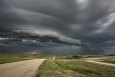 Gravel Road Photograph - Storm Clouds Prairie Sky by Mark Duffy