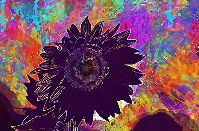 Digital Art - Sun Flower Bees Summer Garden  by PixBreak Art