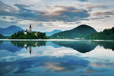 Photograph - Sunset Over Lake Bled by Ian Middleton