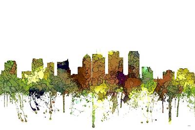 Digital Art - Tampa Florida Skyline by Marlene Watson