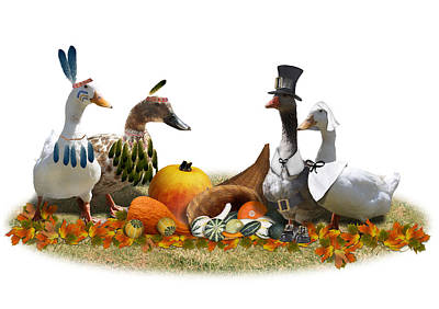 Geese Mixed Media - Thanksgiving Ducks by Gravityx9  Designs