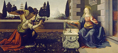 Painting - The Annunciation by Leonardo da Vinci