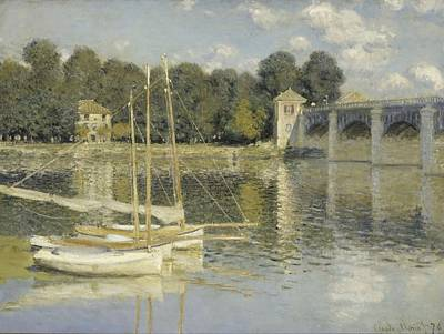 Sailboat Ocean Painting - The Argenteuil Bridge by Claude Monet