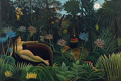 Moonlit Painting - The Dream by Henri Rousseau