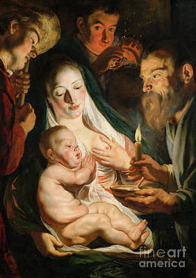 Breastfeeding Painting - The Holy Family With Shepherds by Jacob Jordaens