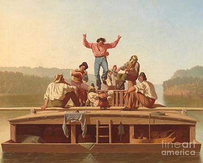 The Jolly Flatboatmen Art Print by George Caleb Bingham