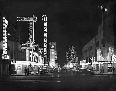 Nighttime Photograph - The Las Vegas Strip by Underwood Archives