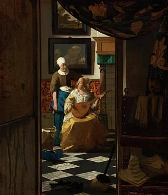 Johannes Vermeer Wall Art - Painting - The Love Letter by Johannes Vermeer
