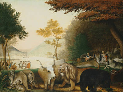 American Folk Art Painting - The Peaceable Kingdom by Edward Hicks
